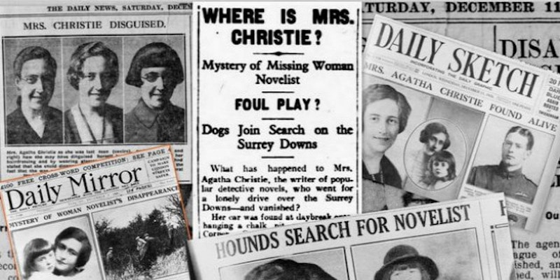 Newspapers during Agatha Christie's disappearance